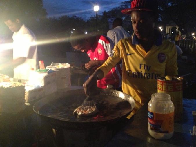Frying up a Zanzibar pizza.