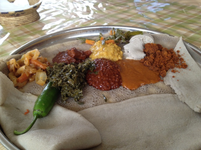 My first meal (besides breakfast) in Addis Ababa.